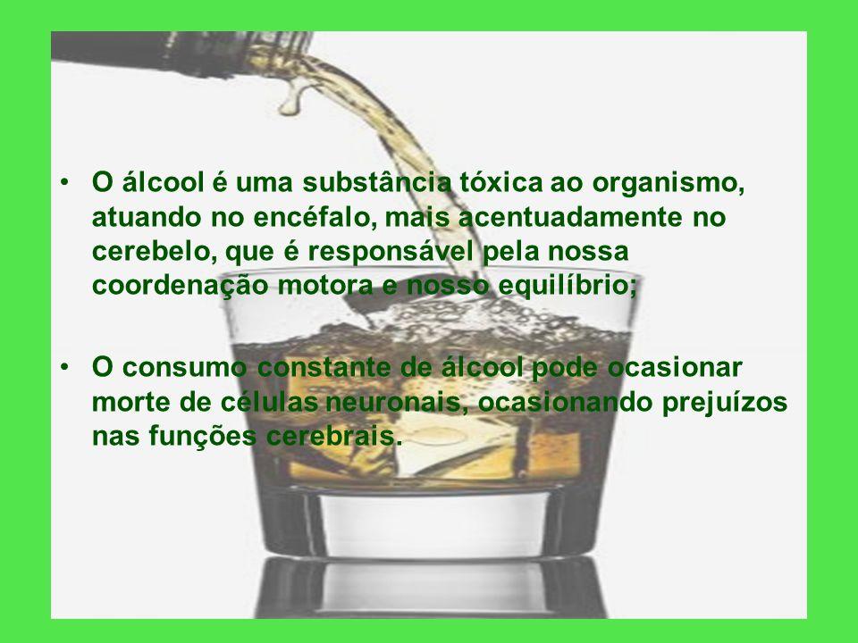 O álcool é uma substância tóxica ao organismo, atuando no encéfalo, mais acentuadamente no cerebelo, que é responsável pela nossa coordenação motora e nosso equilíbrio;