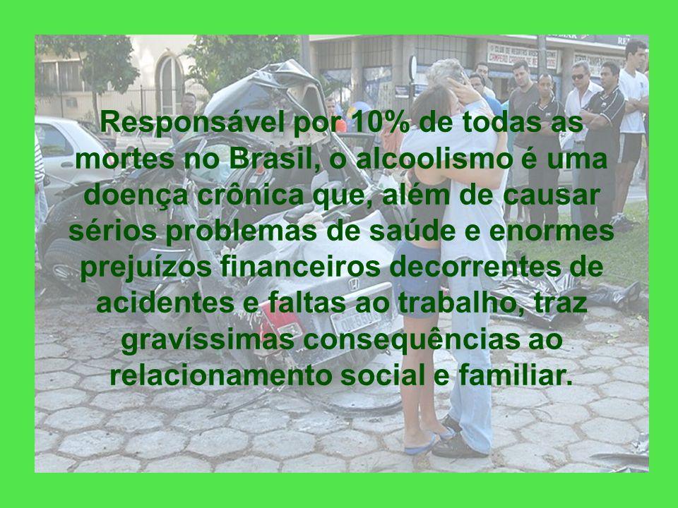 Responsável por 10% de todas as mortes no Brasil, o alcoolismo é uma doença crônica que, além de causar sérios problemas de saúde e enormes prejuízos financeiros decorrentes de acidentes e faltas ao trabalho, traz gravíssimas consequências ao relacionamento social e familiar.