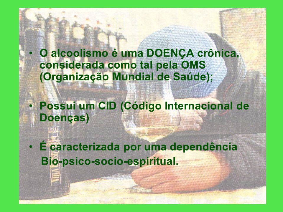 O alcoolismo é uma DOENÇA crônica, considerada como tal pela OMS (Organização Mundial de Saúde);