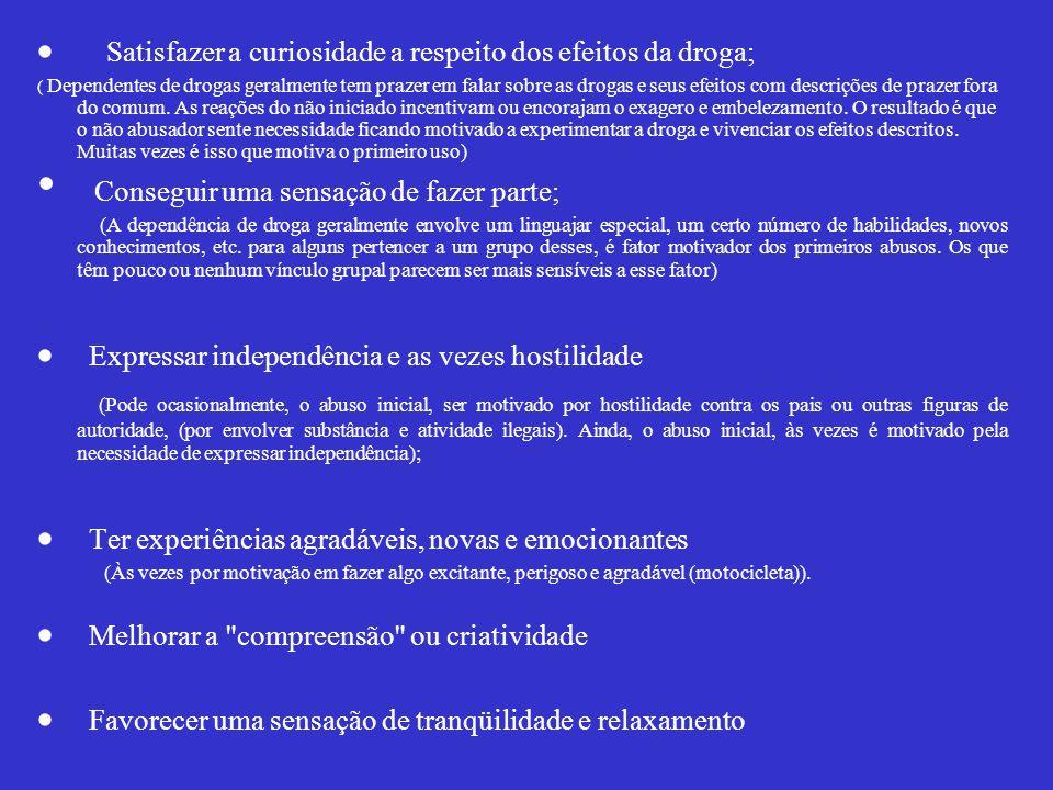 · Satisfazer a curiosidade a respeito dos efeitos da droga;