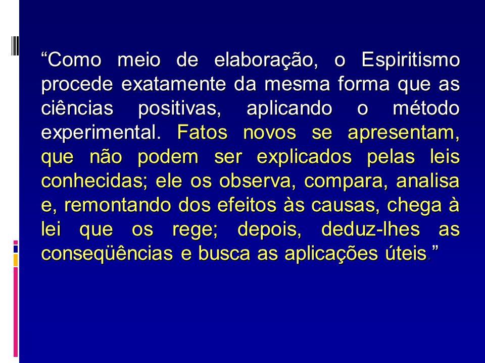 Como meio de elaboração, o Espiritismo procede exatamente da mesma forma que as ciências positivas, aplicando o método experimental.