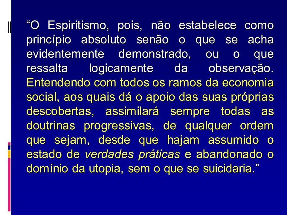O Espiritismo, pois, não estabelece como princípio absoluto senão o que se acha evidentemente demonstrado, ou o que ressalta logicamente da observação.