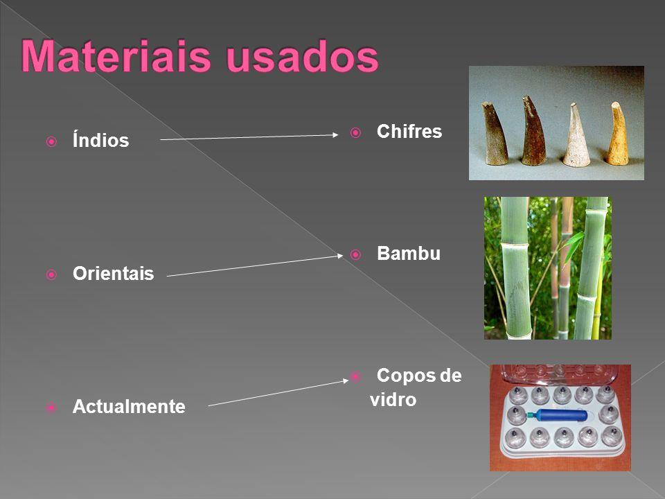 Materiais usados Chifres Índios Bambu Orientais Copos de vidro