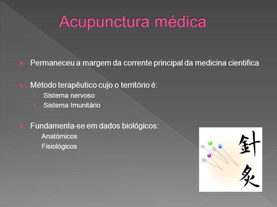 Acupunctura médica Permaneceu a margem da corrente principal da medicina cientifica. Método terapêutico cujo o território é: