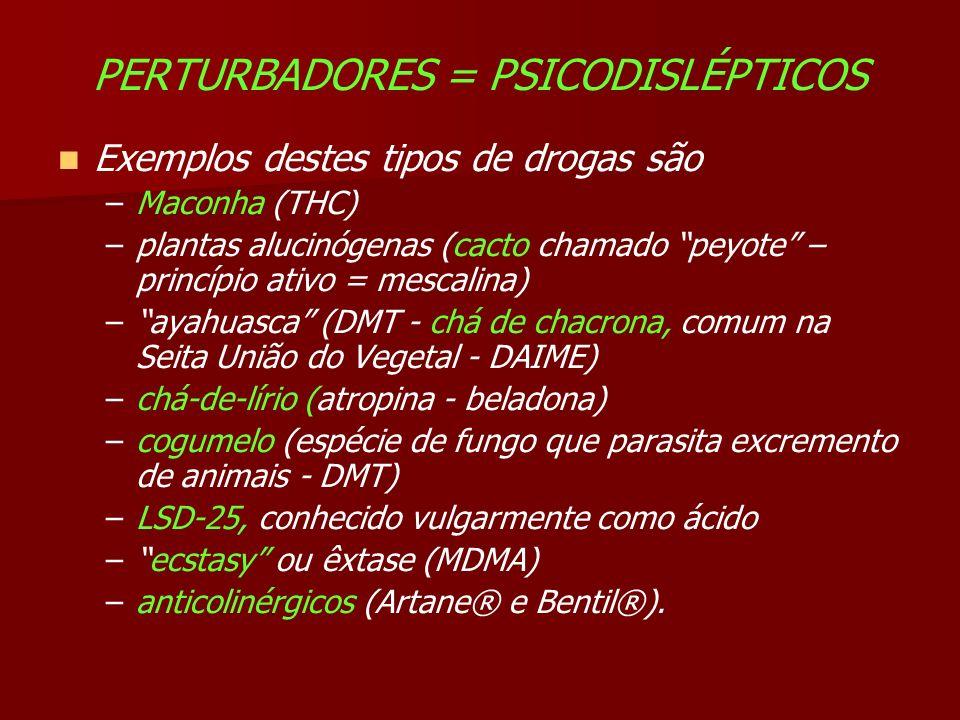 PERTURBADORES = PSICODISLÉPTICOS