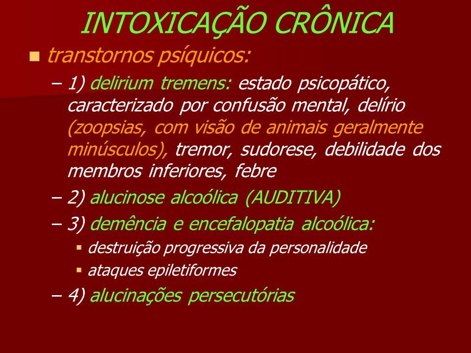 INTOXICAÇÃO CRÔNICA transtornos psíquicos: