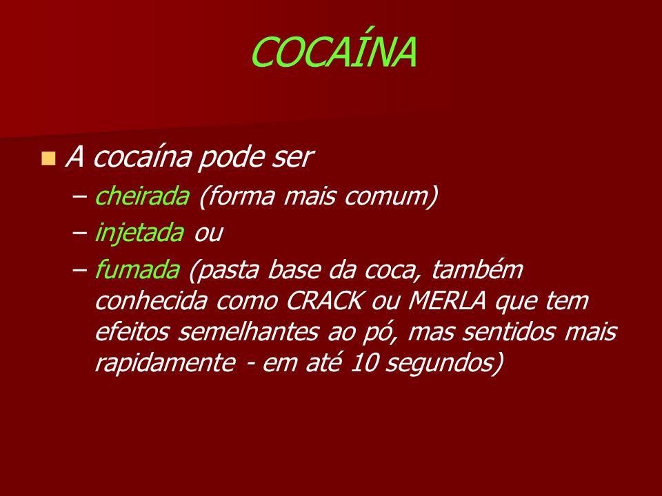 COCAÍNA A cocaína pode ser cheirada (forma mais comum) injetada ou