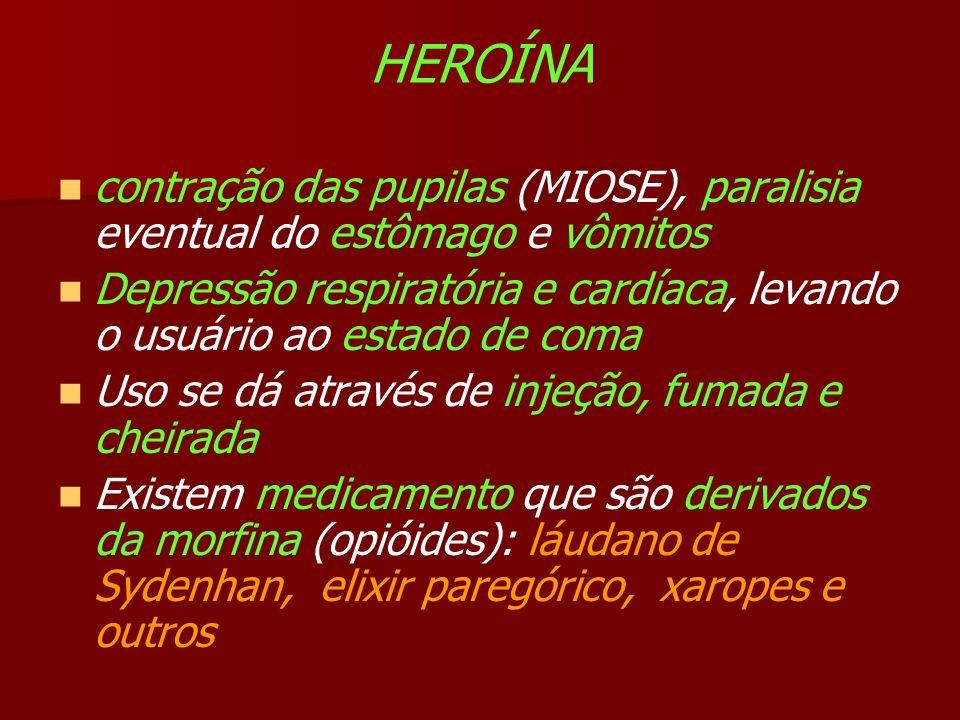 HEROÍNA contração das pupilas (MIOSE), paralisia eventual do estômago e vômitos.
