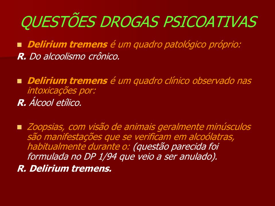 QUESTÕES DROGAS PSICOATIVAS