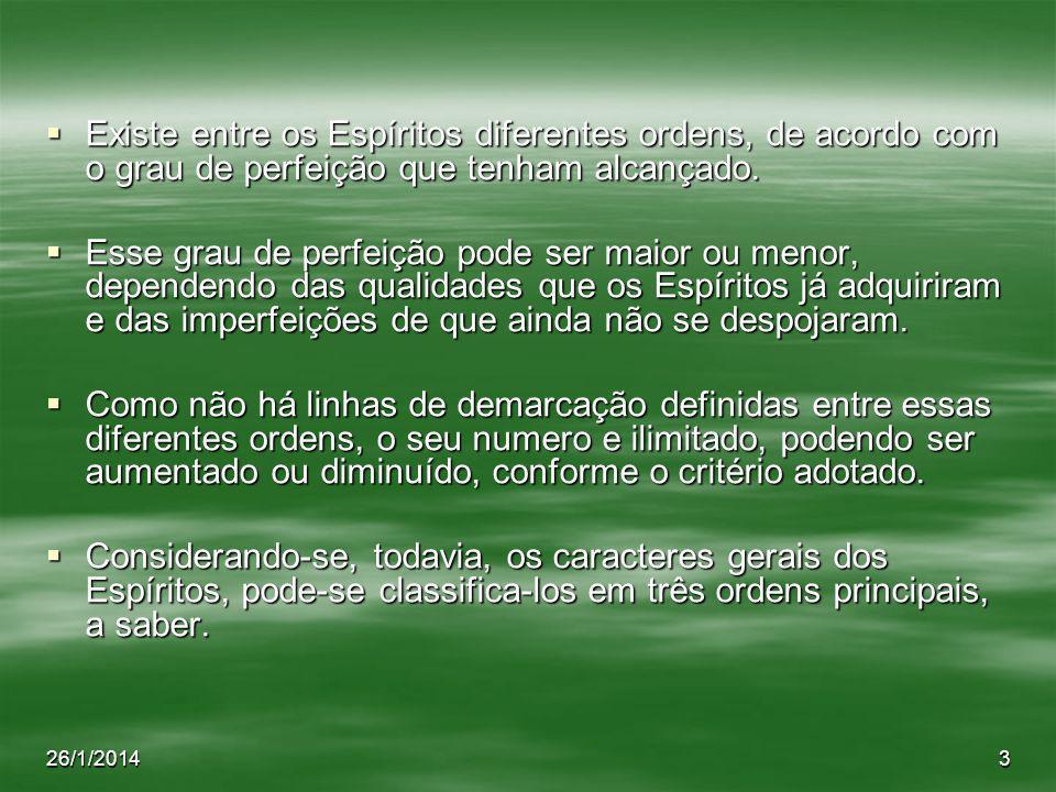 Existe entre os Espíritos diferentes ordens, de acordo com o grau de perfeição que tenham alcançado.