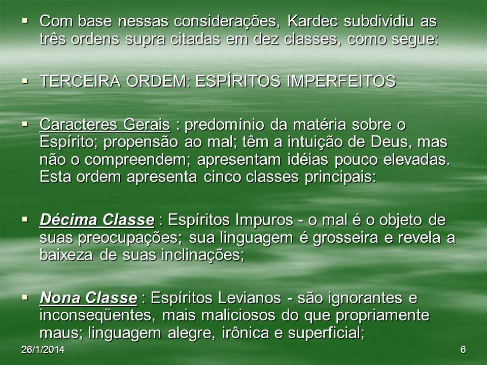 TERCEIRA ORDEM: ESPÍRITOS IMPERFEITOS