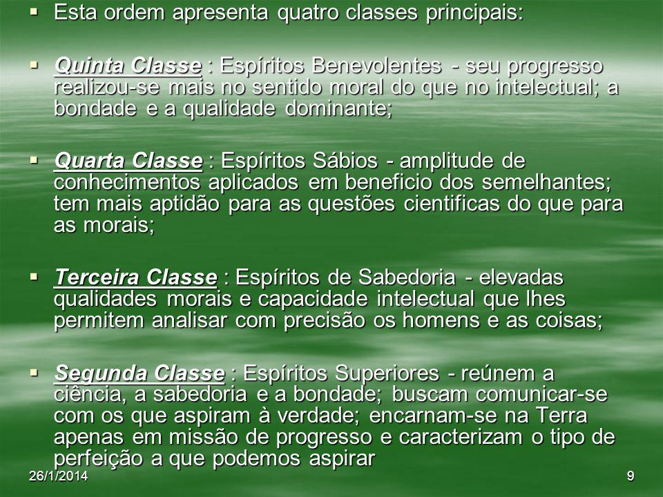 Esta ordem apresenta quatro classes principais:
