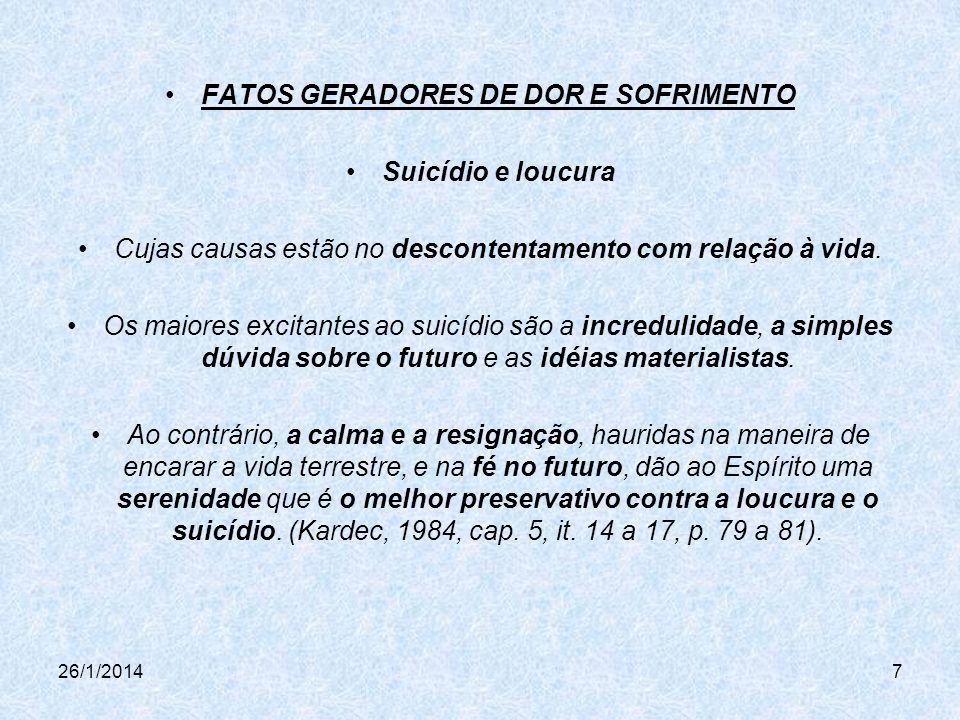 FATOS GERADORES DE DOR E SOFRIMENTO