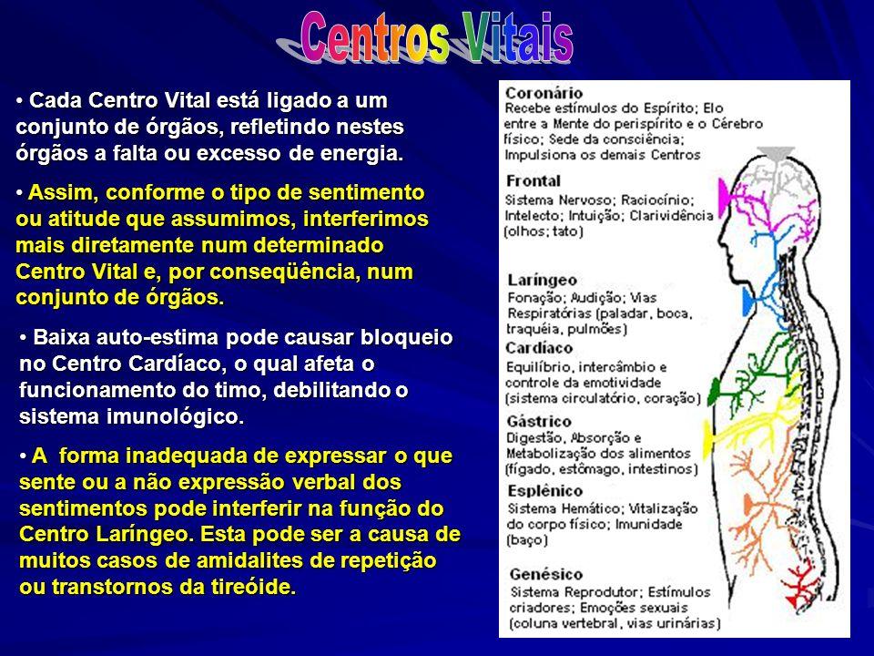 Centros Vitais Cada Centro Vital está ligado a um conjunto de órgãos, refletindo nestes órgãos a falta ou excesso de energia.