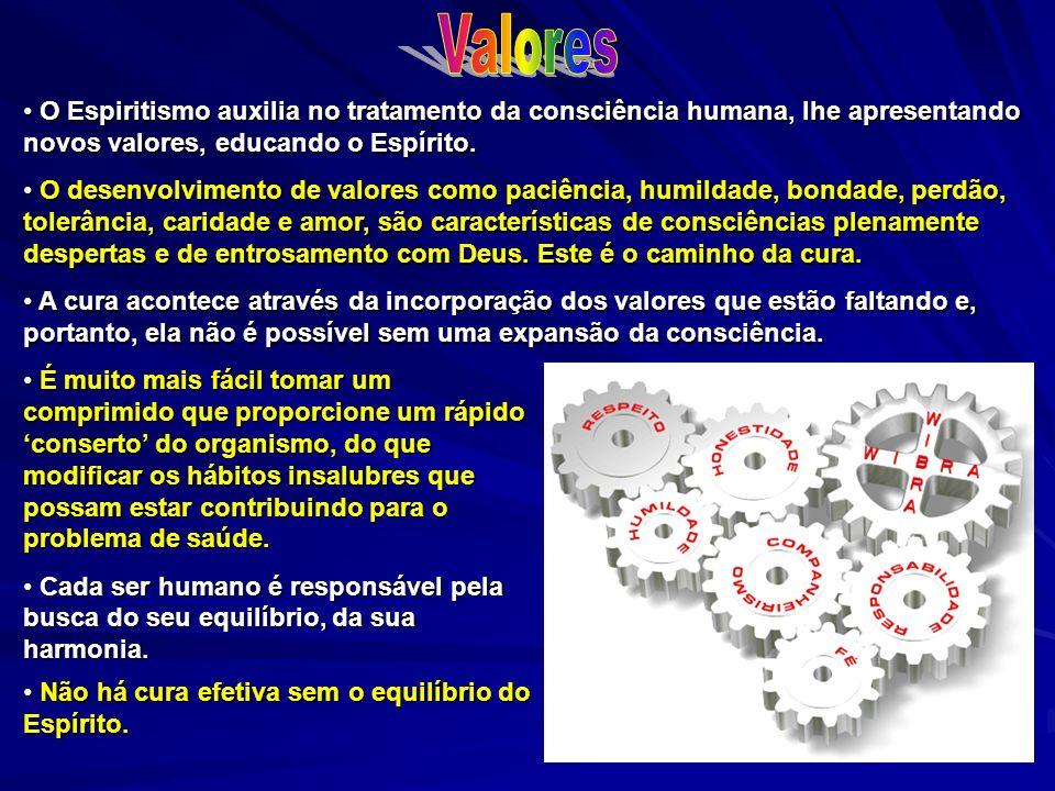 Valores O Espiritismo auxilia no tratamento da consciência humana, lhe apresentando novos valores, educando o Espírito.