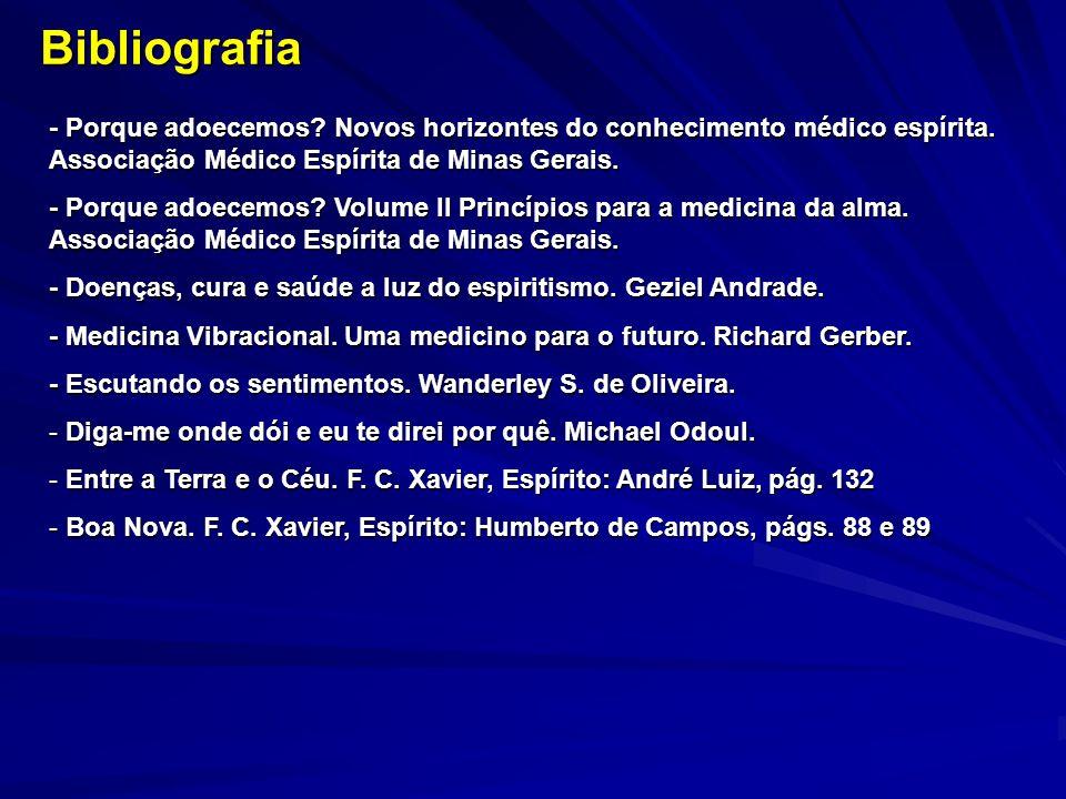 Bibliografia - Porque adoecemos Novos horizontes do conhecimento médico espírita. Associação Médico Espírita de Minas Gerais.