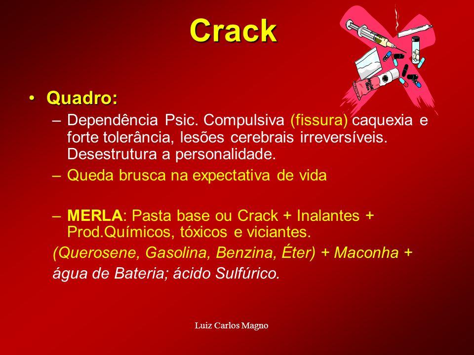 Crack Quadro: Dependência Psic. Compulsiva (fissura) caquexia e forte tolerância, lesões cerebrais irreversíveis. Desestrutura a personalidade.