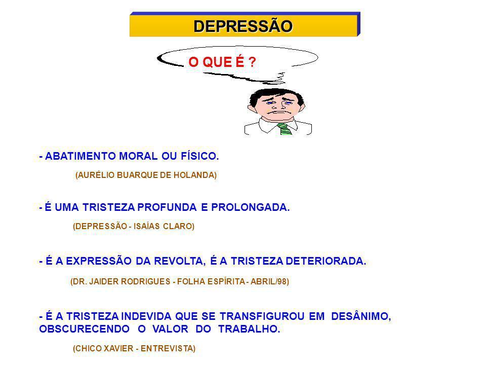 DEPRESSÃO O QUE É - ABATIMENTO MORAL OU FÍSICO.