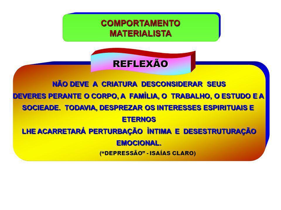 REFLEXÃO COMPORTAMENTO MATERIALISTA