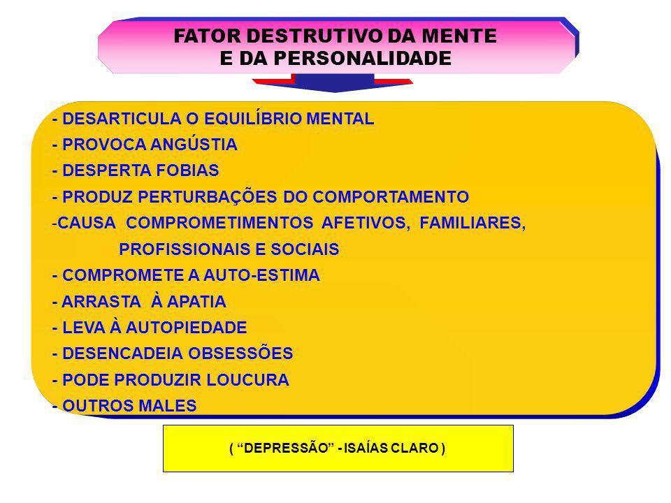 FATOR DESTRUTIVO DA MENTE ( DEPRESSÃO - ISAÍAS CLARO )