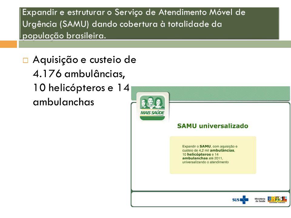 Expandir e estruturar o Serviço de Atendimento Móvel de Urgência (SAMU) dando cobertura à totalidade da população brasileira.