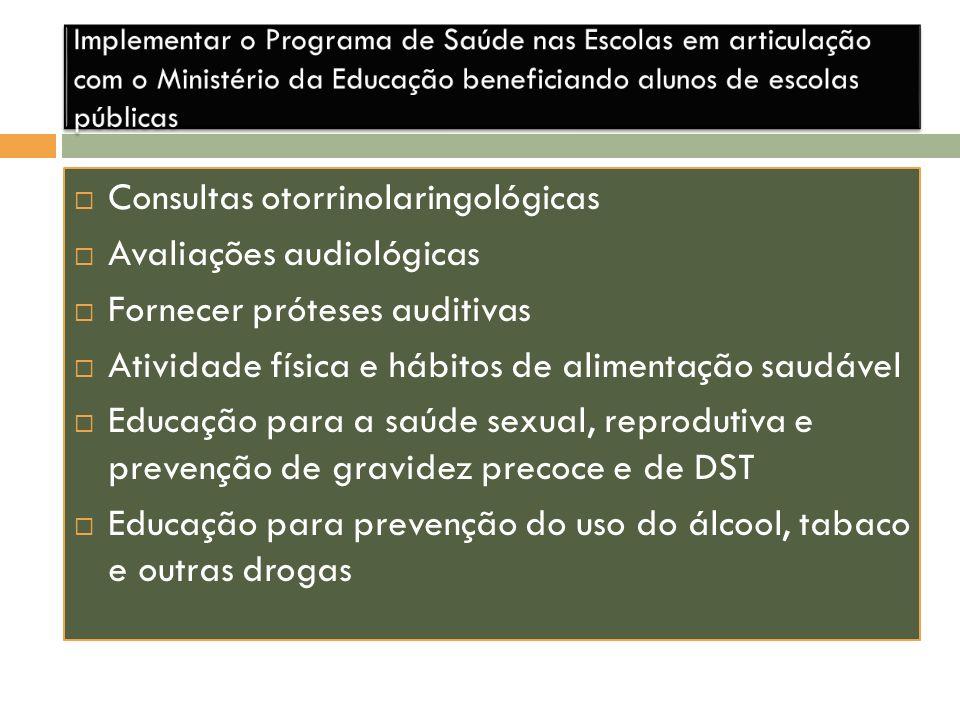 Consultas otorrinolaringológicas Avaliações audiológicas