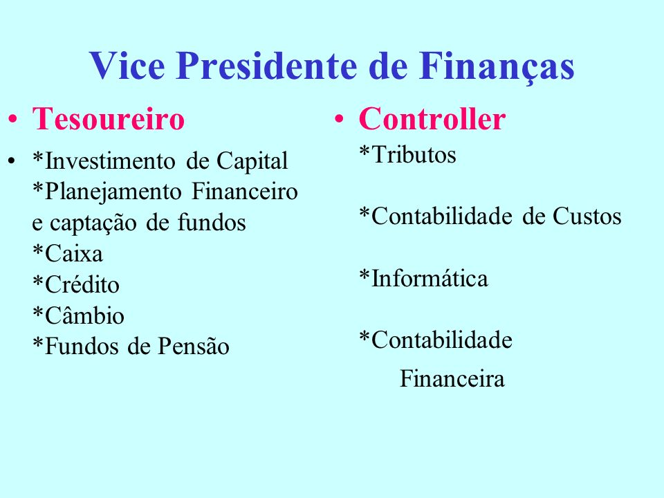 Vice Presidente de Finanças