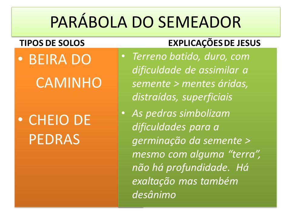 PARÁBOLA DO SEMEADOR BEIRA DO CAMINHO CHEIO DE PEDRAS
