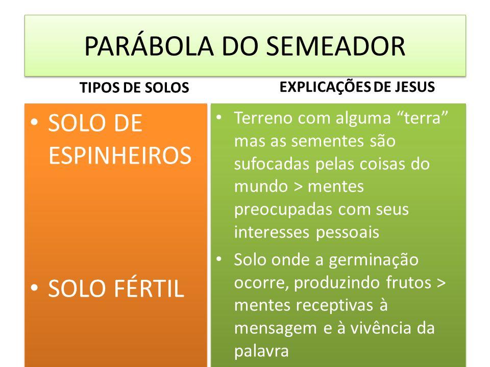 PARÁBOLA DO SEMEADOR SOLO DE ESPINHEIROS SOLO FÉRTIL