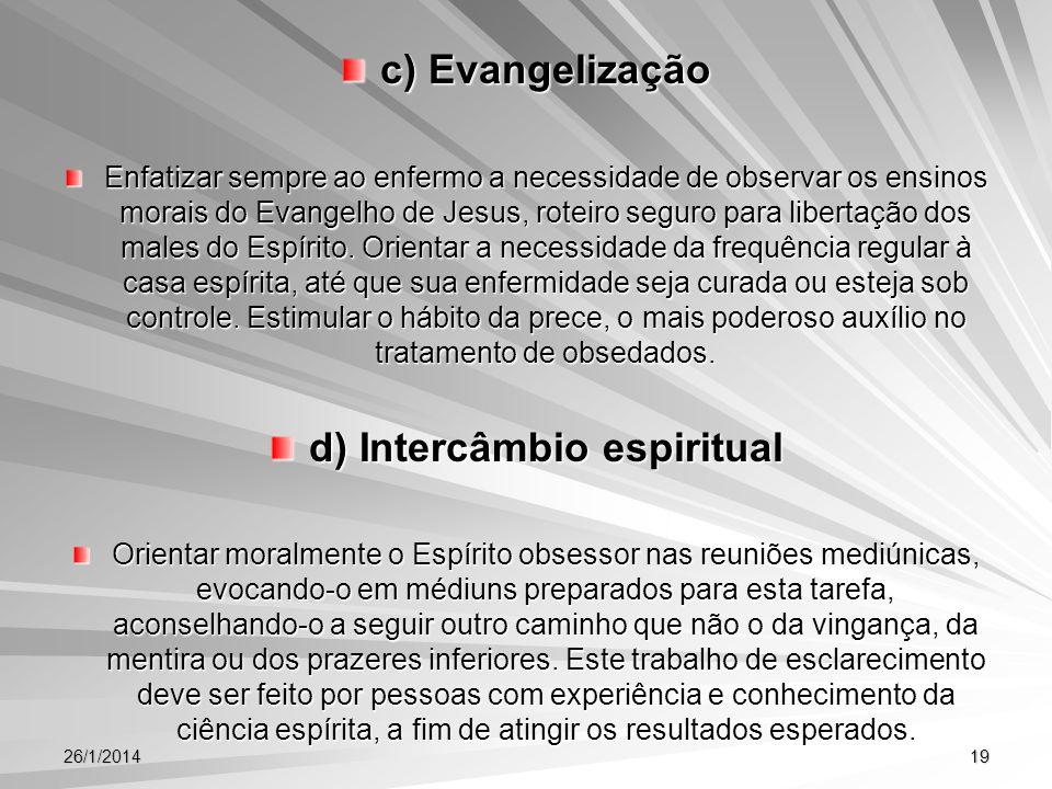 d) Intercâmbio espiritual