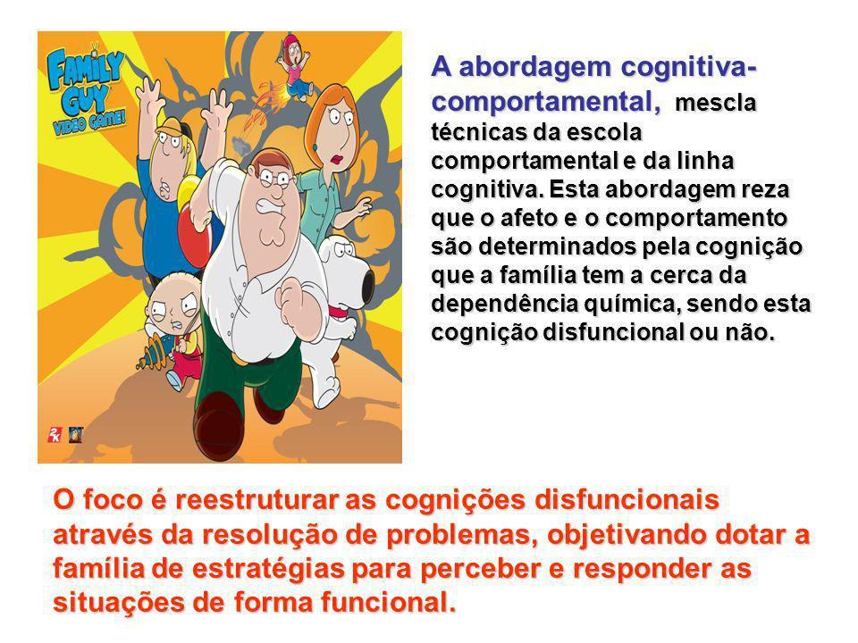A abordagem cognitiva-comportamental, mescla técnicas da escola comportamental e da linha cognitiva. Esta abordagem reza que o afeto e o comportamento são determinados pela cognição que a família tem a cerca da dependência química, sendo esta cognição disfuncional ou não.