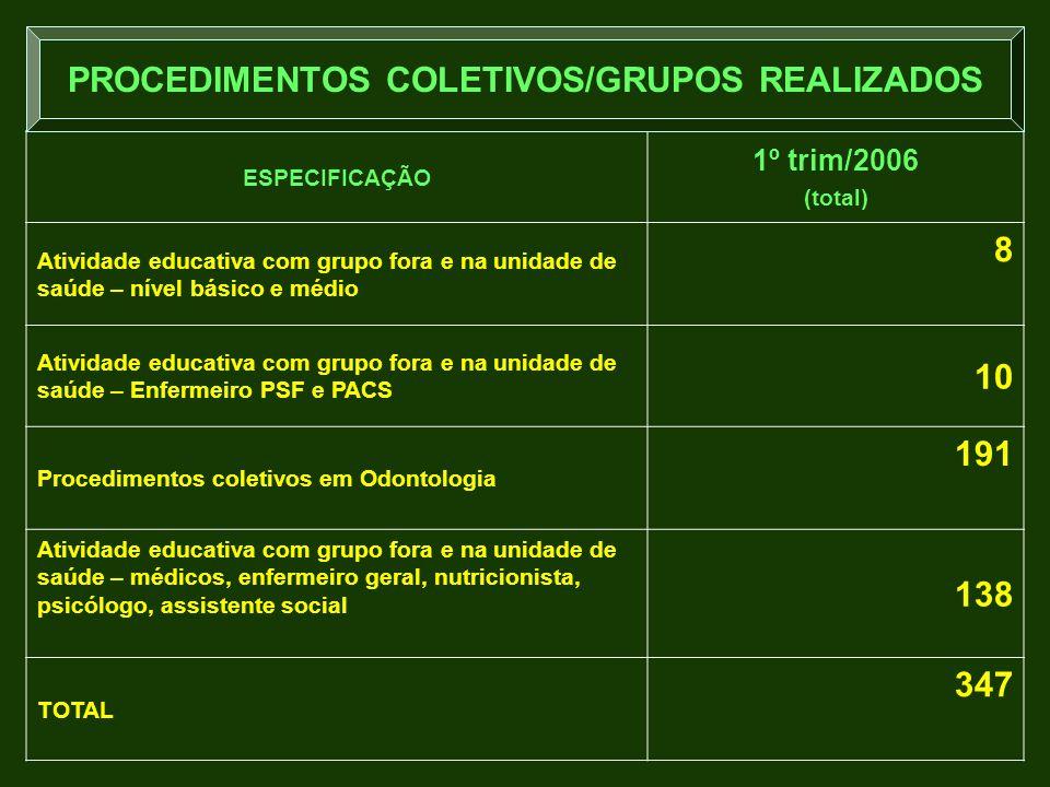 PROCEDIMENTOS COLETIVOS/GRUPOS REALIZADOS
