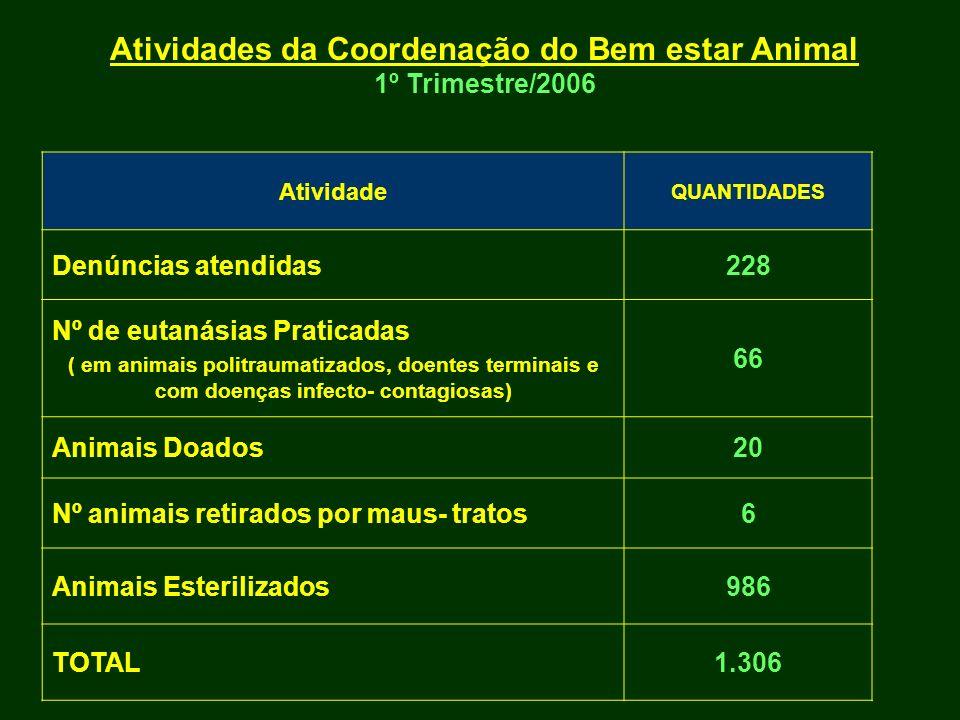 Atividades da Coordenação do Bem estar Animal