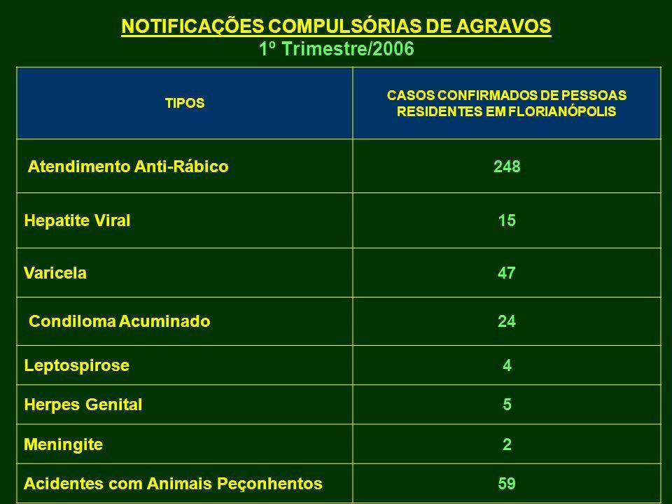 NOTIFICAÇÕES COMPULSÓRIAS DE AGRAVOS 1º Trimestre/2006