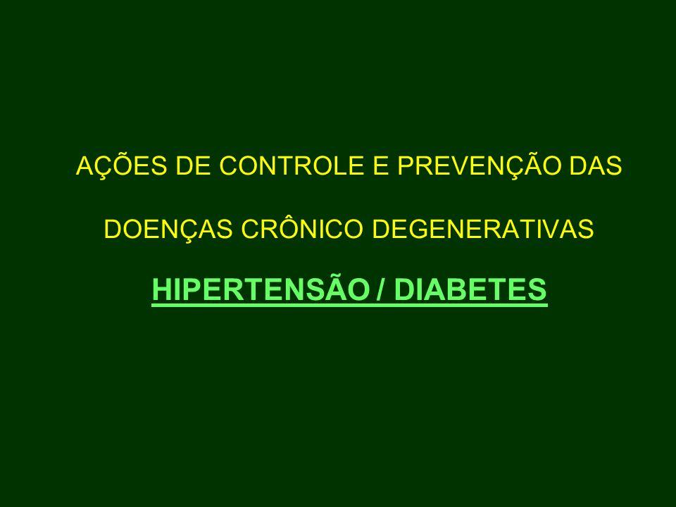 AÇÕES DE CONTROLE E PREVENÇÃO DAS DOENÇAS CRÔNICO DEGENERATIVAS HIPERTENSÃO / DIABETES