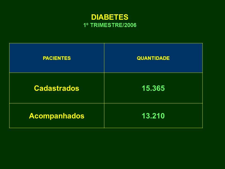 DIABETES 1º TRIMESTRE/2006 Cadastrados 15.365 Acompanhados 13.210