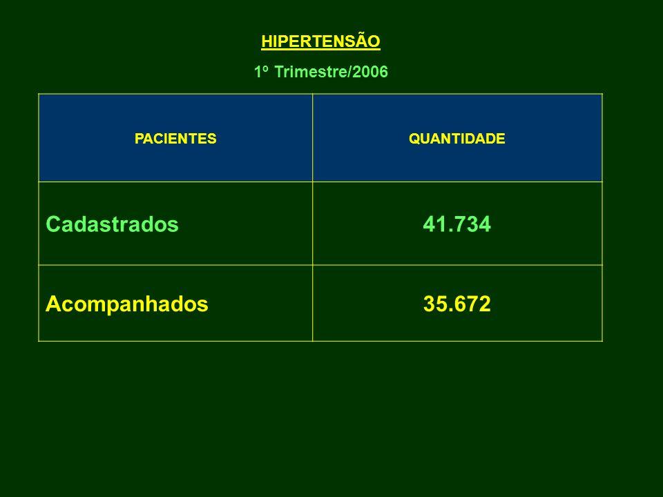 Cadastrados 41.734 Acompanhados 35.672 HIPERTENSÃO 1º Trimestre/2006