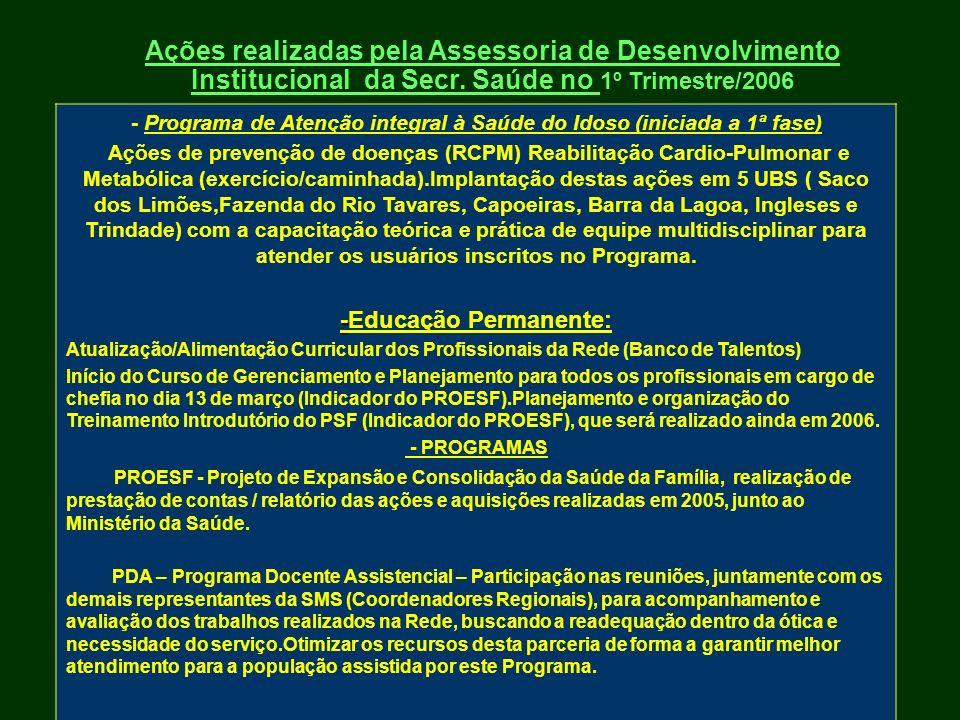 Ações realizadas pela Assessoria de Desenvolvimento Institucional da Secr. Saúde no 1º Trimestre/2006