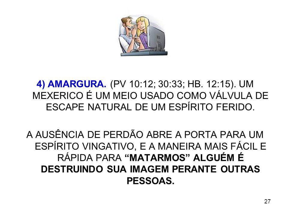 4) AMARGURA. (PV 10:12; 30:33; HB. 12:15)