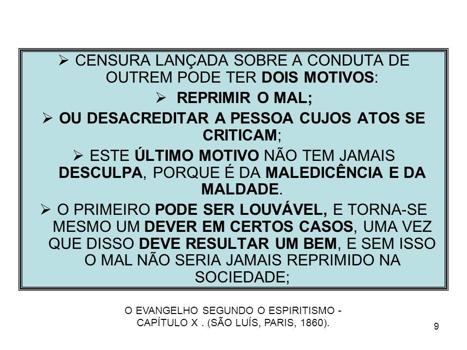 CENSURA LANÇADA SOBRE A CONDUTA DE OUTREM PODE TER DOIS MOTIVOS: