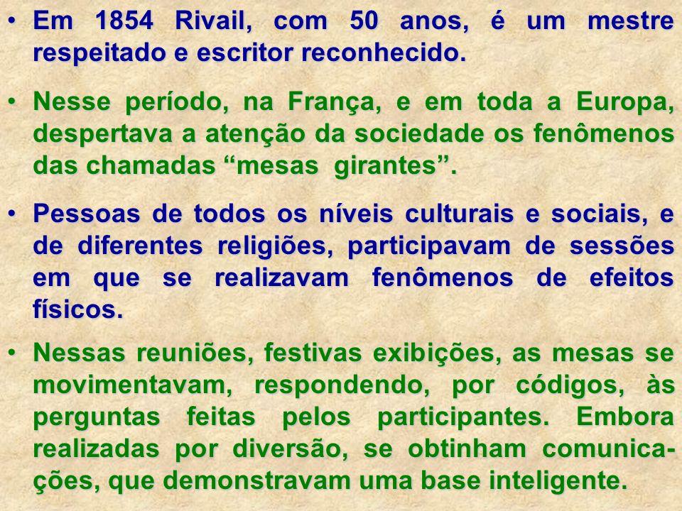 Em 1854 Rivail, com 50 anos, é um mestre respeitado e escritor reconhecido.