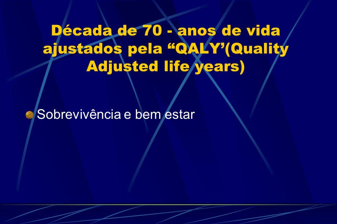 Década de 70 - anos de vida ajustados pela QALY'(Quality Adjusted life years)