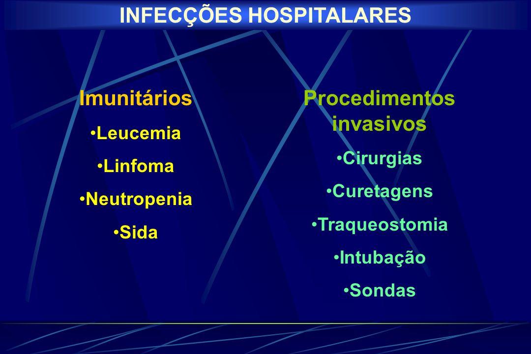 INFECÇÕES HOSPITALARES Procedimentos invasivos