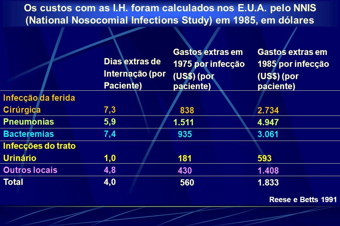 Os custos com as I. H. foram calculados nos E. U. A