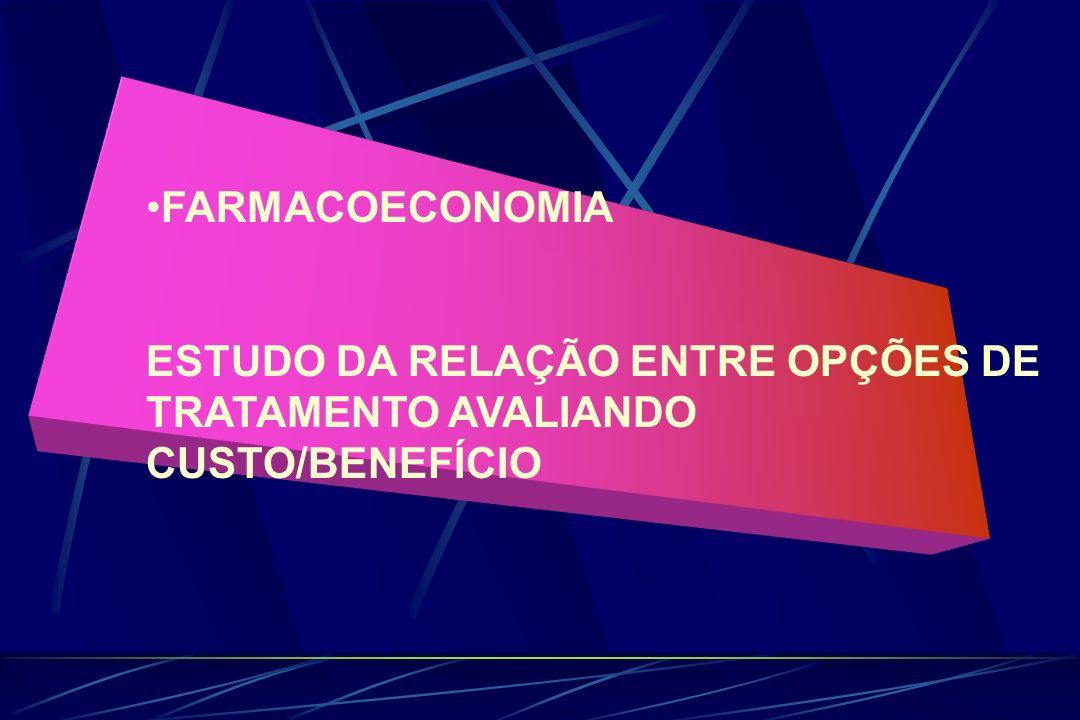 FARMACOECONOMIA ESTUDO DA RELAÇÃO ENTRE OPÇÕES DE TRATAMENTO AVALIANDO CUSTO/BENEFÍCIO