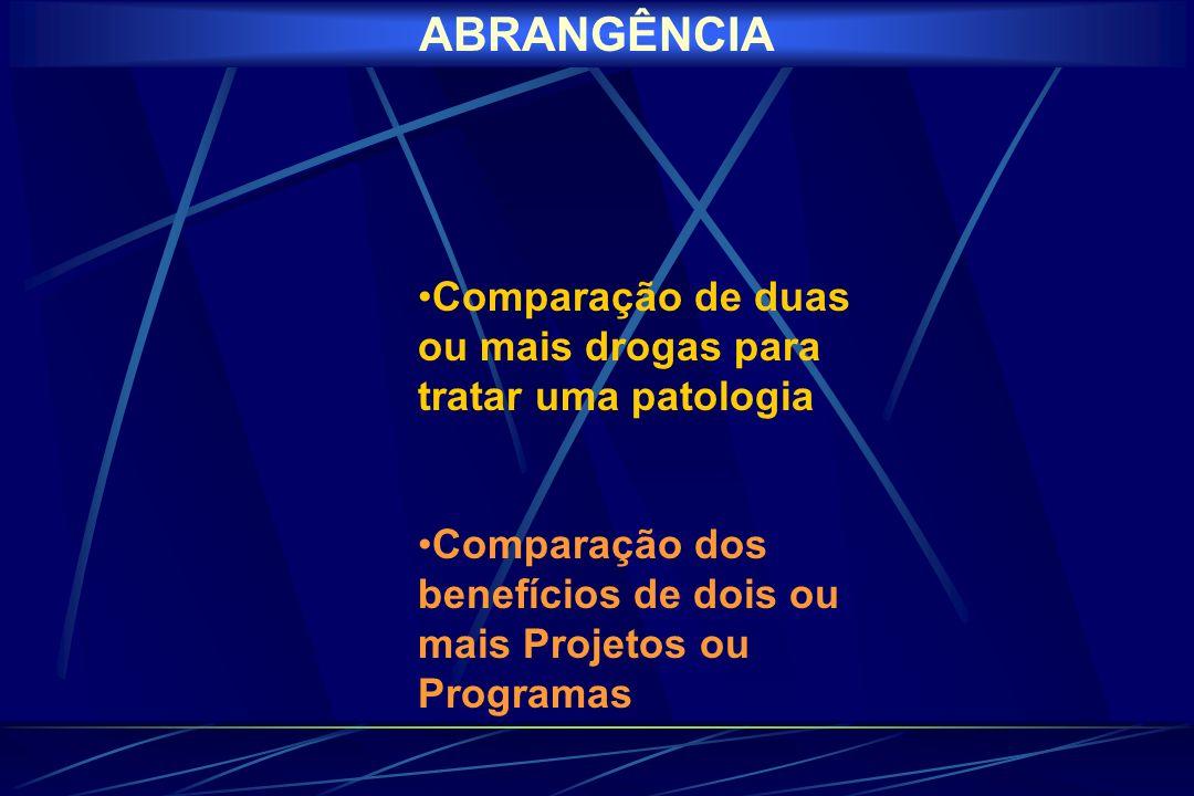 ABRANGÊNCIA Comparação de duas ou mais drogas para tratar uma patologia.