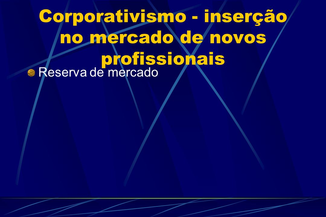 Corporativismo - inserção no mercado de novos profissionais