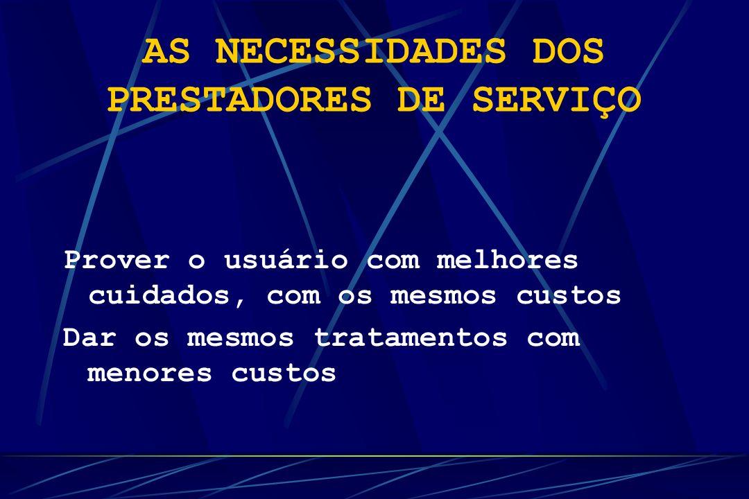 AS NECESSIDADES DOS PRESTADORES DE SERVIÇO