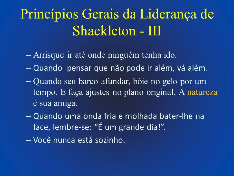 Princípios Gerais da Liderança de Shackleton - III