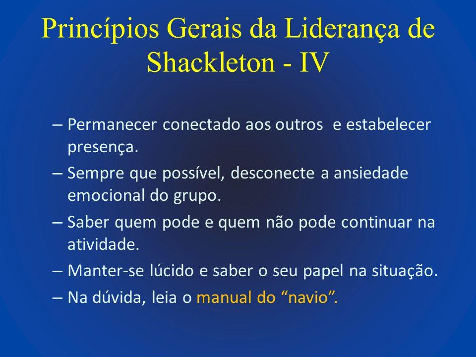 Princípios Gerais da Liderança de Shackleton - IV